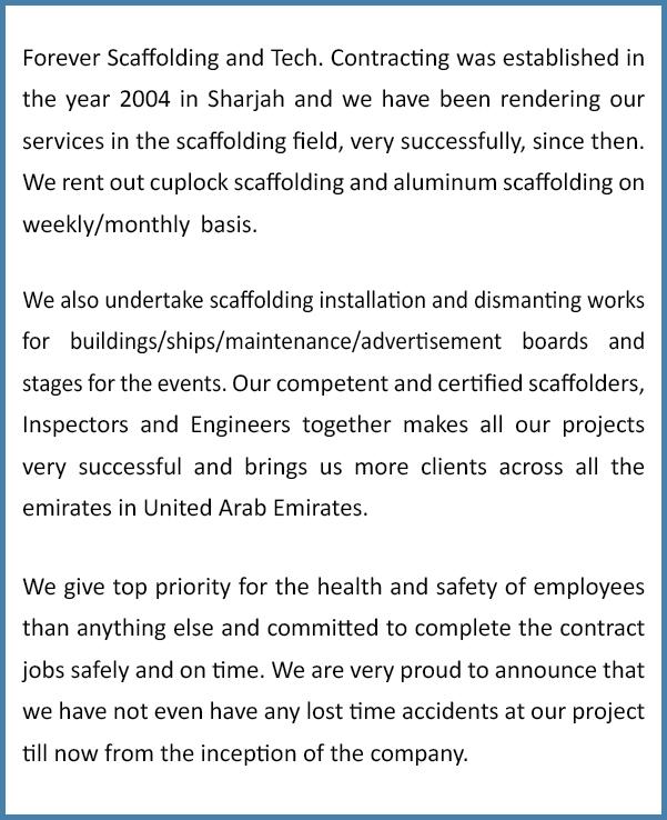 Scaffolding in Sharjah | Aluminum & Steel Scaffolding in Sharjah